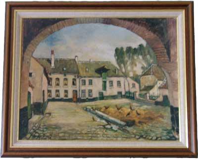 schilderij van de watermolen in Bierges